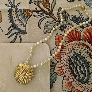 Tory Burch pearl necklace with shell pendant
